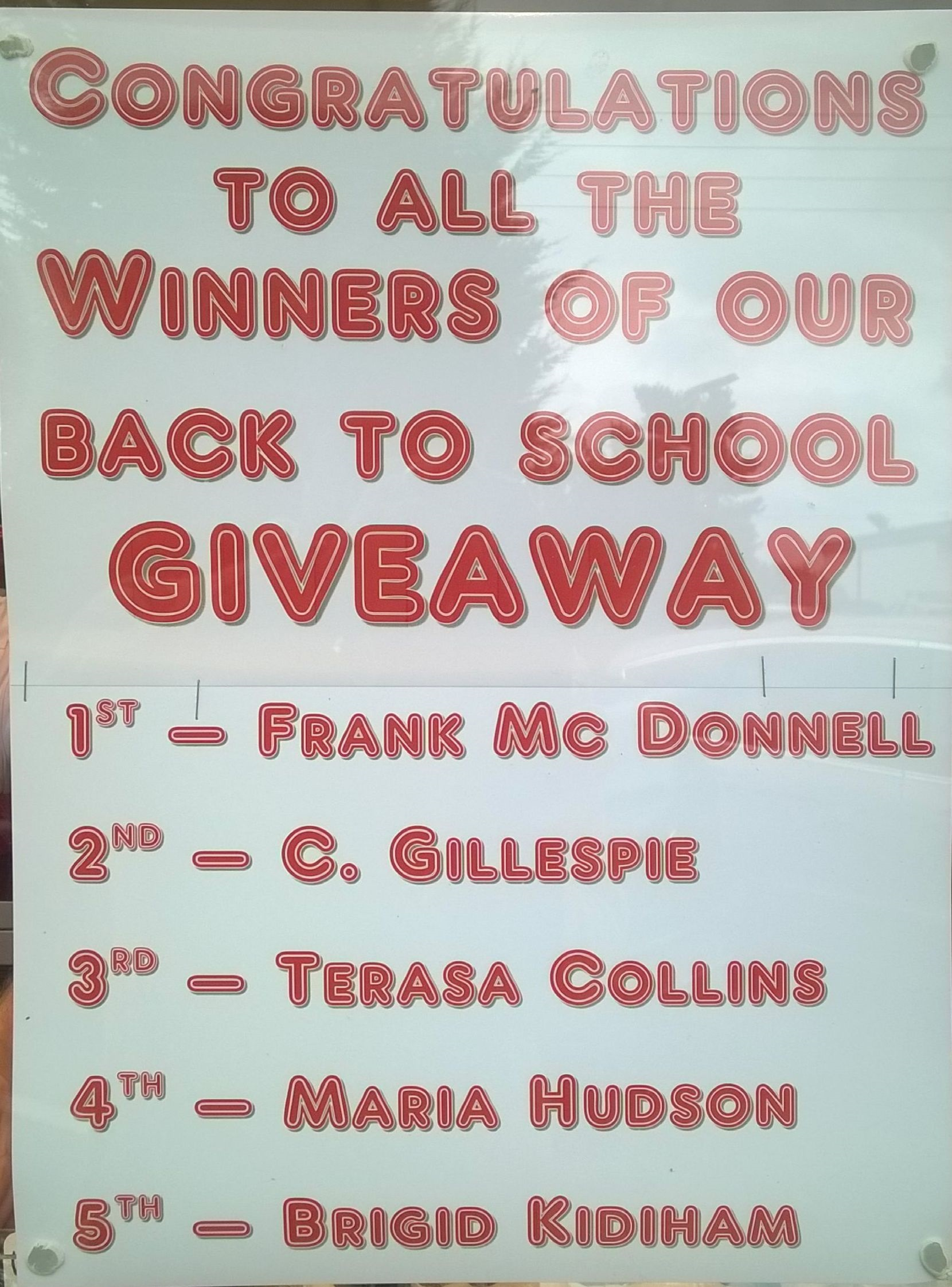 Free Draw results Winners, 1st- Frank McDonnell, 2nd- C. Gillespie, 3rd- Teresa Collins, 4th- Maria Hudson, 5th- Brigid Kidiham